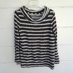 Loft White Gray Striped Sweatshirt Cowl Neck M